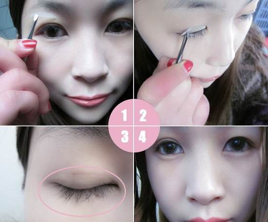 Cách dán mí mắt giả 2