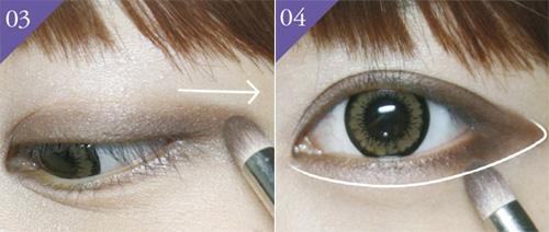 Cách trang điểm mắt mèo với phần đuôi mắt màu nâu kéo rộng về phía sau