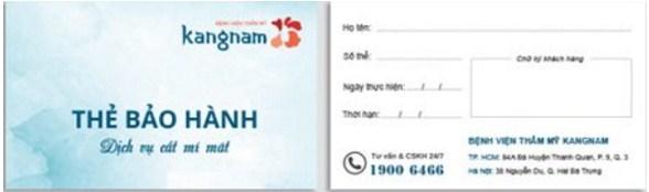 Thẻ bảo hành cho dịch vụ cắt mí chữa sụp mí tại Kangnam